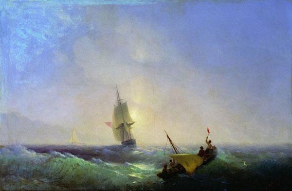 Спасающиеся от кораблекрушения. (Айвазовский И.К.)