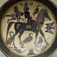 Изображение всадника. Чаша чернофигурного стиля из Лаконии. 550-530 г. до н.э.