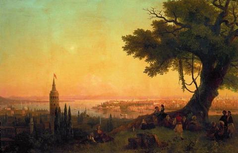 Вид Константинополя при вечернем освещении - 1846 год