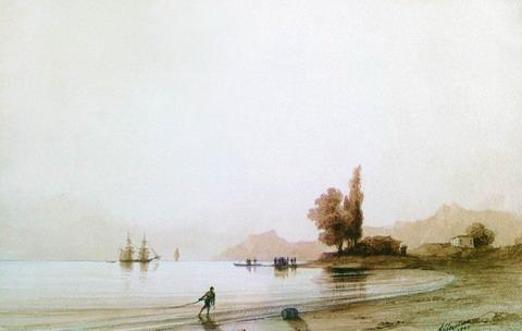 Вид на скалистый берег со стороны моря - 1845 год