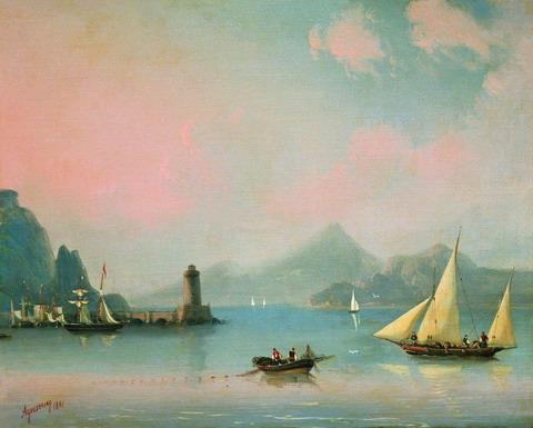 Морской пролив с маяком - 1841 год