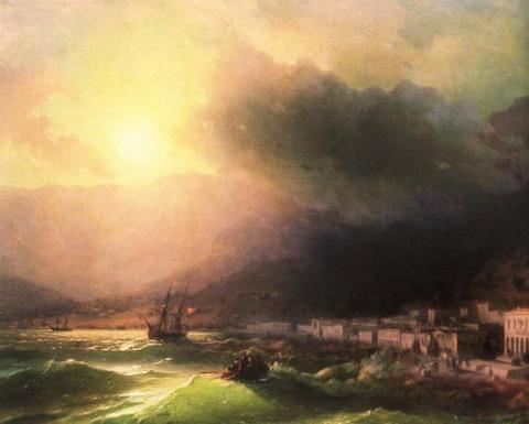 Приморский город. Вид Ялты - 1866 год