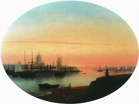 Смольный монастырь. Закат солнца - 1847 год