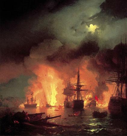 Чесменский бой в ночь с 25 на 26 июня 1770 года. (Айвазовский И.К.)