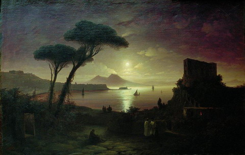 Неаполитанский залив в лунную ночь - 1842 год