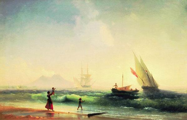 Встреча рыбаков на берегу Неаполитанского залива. (Айвазовский И.К.)