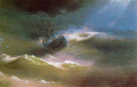 Корабль Императрица Мария во время шторма - 1892 год