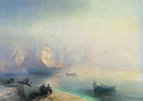 Неаполитанский залив в туманное утро - 1874 год