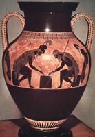 Эксекий. Ахилл и Аякс, играющие в кости. Чернофигурная амфора. III четверть VI в. до н.э. Рим, Ватикан