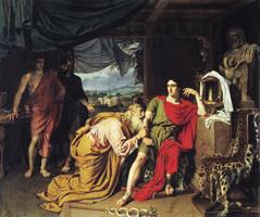 Приам испрашивает у Ахиллеса труп Гектора (А.А. Иванов, 1824 г.)