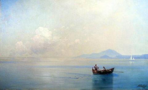 Штиль. Морской пейзаж с рыбаками - 1887 год