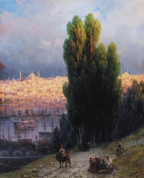Константинополь. Вид на бухту Золотой Рог с автопортретом рисующего художника - 1880 год