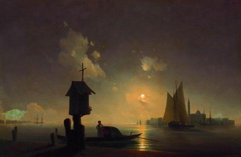 Морской вид с часовней на берегу - 1845 год