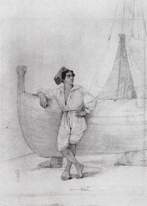 Итальянец у парусной лодки - 1840 год