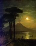 Неаполитанский залив в лунную ночь. Везувий 1840.