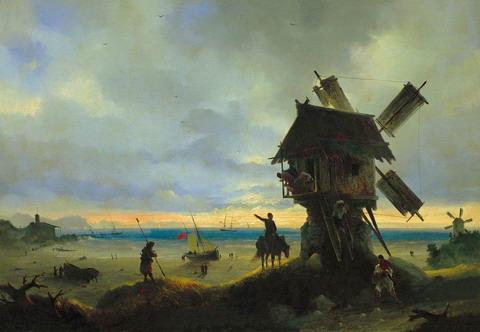 Ветряная мельница на берегу моря - 1837 год