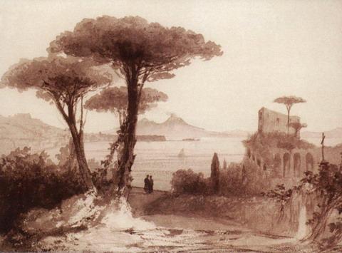 Вид Везувия из Неаполя - 1843 год