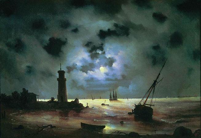 Берег моря ночью. У маяка (Айвазовский И.К)