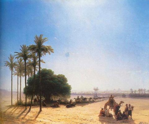 Караван в оазисе. Египет - 1871 год