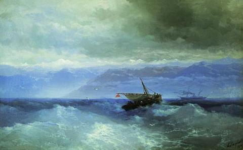 Кавказские горы с моря - 1899 год