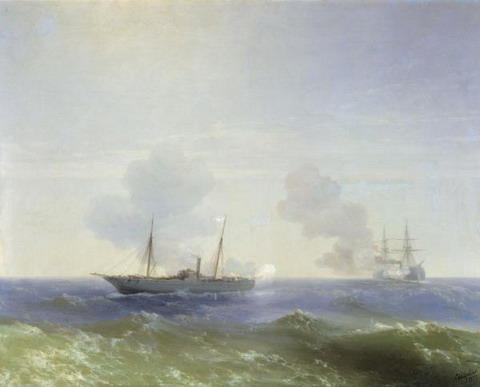 Бой парохода Веста с турецким броненосцем Фехти-Буленд в Чёрном море 11 июля 1877 года - 1877 год
