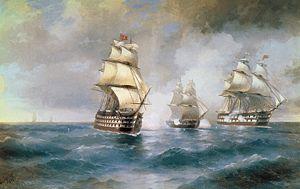 Бриг Меркурий, атакованный двумя турецкими кораблями