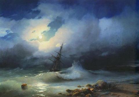 Бурное море ночью - 1853 год