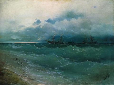 Корабли в бурном море. Восход солнца - 1871 год