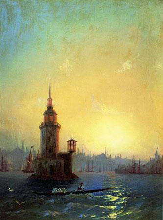 Вид Леандровской башни в Константинополе.