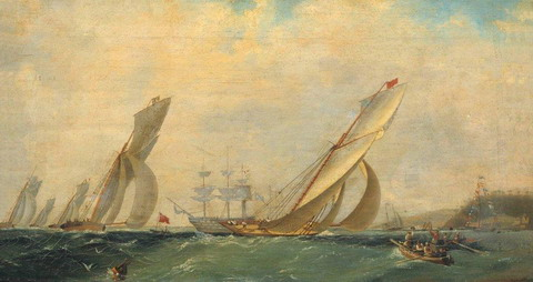 Фрегат на море - 1838 год