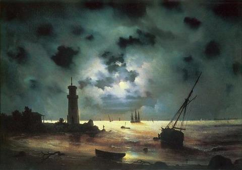 Берег моря ночью. У маяка. - 1837 год