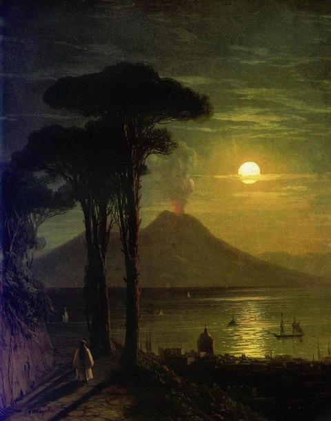 Неаполитанский залив в лунную ночь. Везувий - 1840 год