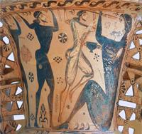 Одиссей, ослепляющий циклопа Полифема (Фрагмент проаттической амфоры. 670-660 гг. до н.э.)