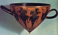 Пешие и конные воины в бою (Около 530 г. до н.э. Британский музей, Лондон)