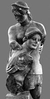 Тесей и Антиопа. Фрагмент скульптуры западного фронтона храма Аполлона в Эретрии. VI в. до н.э. Музей в Халкисе