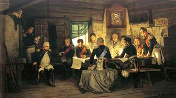 Военный совет в Филях в 1812 году (А. Кившенко, 1880 г.)