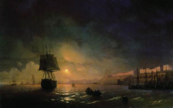 Вид Одессы в лунную ночь. (Айвазовский И.К.)