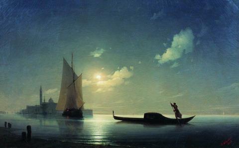 Гондольер на море ночью - 1843 год