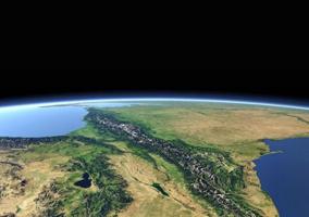 Закавказье. Вид из космоса.