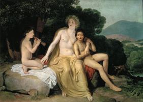 Аполлон, Гиацинт и Кипарис, занимающиеся музыкой и пением (А.А. Иванов, 1834 г.)