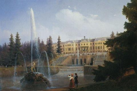 Вид на Большой Каскад и Большой Петергофский дворец - 1837 год