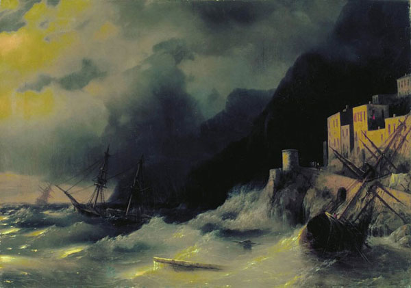Буря на море.