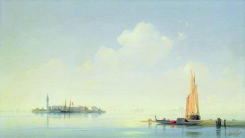 Венецианская лагуна. Вид на остров Сан-Джорджо - 1844 год