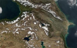 Кавказ и Закавказье. Вид из космоса.