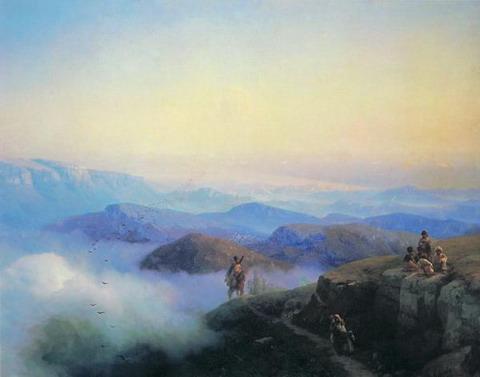 Цепи Кавказских гор. Вид с Каранайских гор на Темир-Хан-Шуру, на Каспийском море - 1869 год